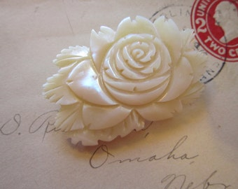 vintage carved rose MOP brooch - mother of pearl, shell
