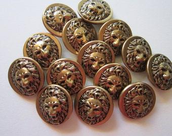 14 vintage metal LION HEAD buttons - 7/8 inch buttons - figural lion buttons, metal buttons, brass buttons, relief lion's head