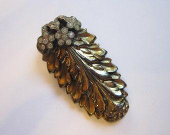 vintage dress clip - metal stampings with rhinestones - elongated leaf - vintage clip