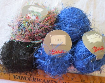 vintage yarn - 5 balls BARUFFA FUR - royal blue, black, multicolor - made in Italy