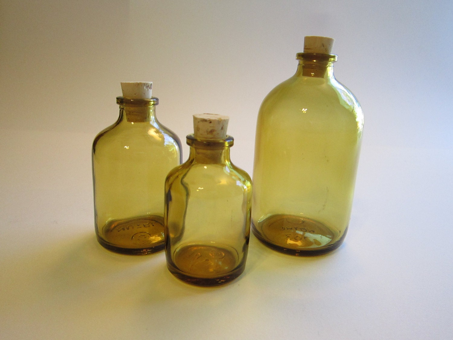 3 small glass bottles with corks or without light amber for Colored glass bottles with corks
