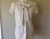 1970s Ship n' Shore Blue Polka Dot Blouse with Tie in Front