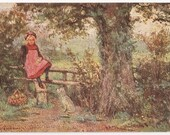 Artist Signed Raphael Tuck Oilette - A Rest On The Stile - Antique Postcard - English, England, Children, Impressionistic, Paintings, Paper