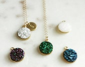 Personalized druzy necklace, modern personalized jewelry