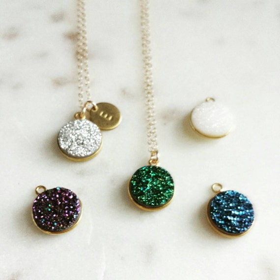 Personalized Druzy Pendant Necklace