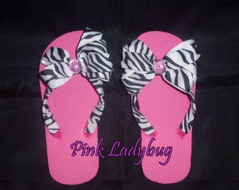 Girls Pink and Zebra Flip Flops - Ready to Ship in Size M - 13-1