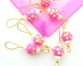 Round Wood Bead Knitting Stitch Markers - Set of 7 Wood Bead Knitting Marker - Choice of Color