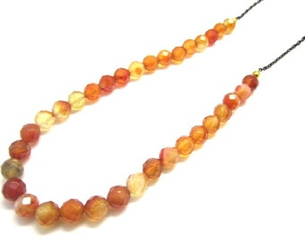 Long Carnelian Necklace with Black and Gold Chain