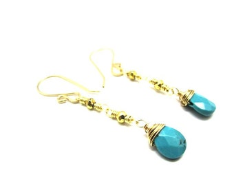 Pyrite and Turquoise Earring in Gold