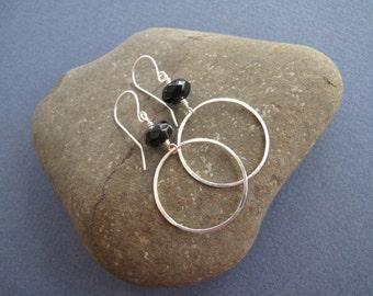 Black Onyx Earrings, Sterling Silver Earrings, Niobium Earrings, Hoop Earrings