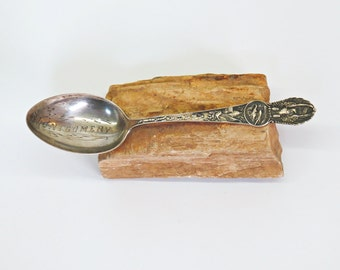 Manchester Sterling Montgomery Alabama Souvenir Spoon 1900s Eagle Here We Rest 20G