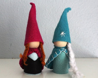 Waldorf Inspired Elsa and Anna Frozen Gnome Dolls Frozen Valentine