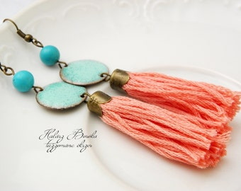 Tassel-Enamel earrings  - copper - gemstones - Ethnic - Gypsy - turquise - coral - ooak