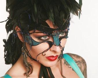Blue cyber gothic masquerade mask, Masked ball mask, Masquerade ball mask, Gothic mask, Womens mask, Halloween mask, Blue mask, Black mask