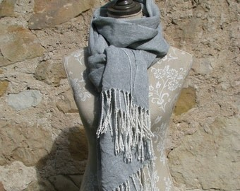 Handwoven Linen Flax Storm Grey and White Scarf (Shawl)- Pure Linen