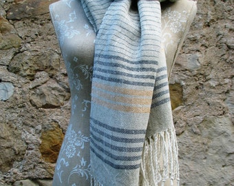 Handwoven Linen Flax Green, Yellow and White Striped Scarf (Shawl)- Pure Linen, Linen shawl, fringed natural flax scarf, XL linen scarf
