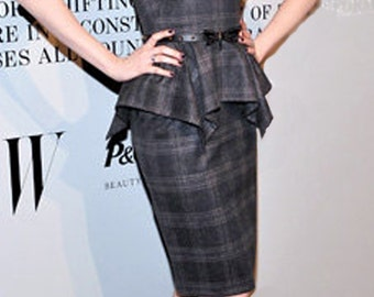 Strapless Plaid Dress with Peplum - Menswear Plaid - Made to Order - Bespoke - New