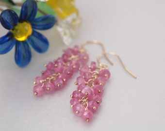 Pink Sapphire Gold Filled Earrings