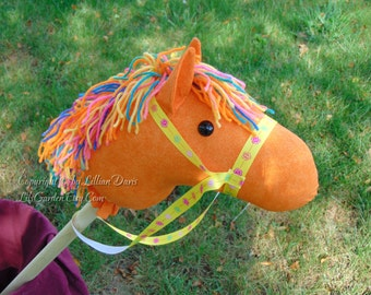 Stick Horse, Orange with Bright Multi Color Mane and Yellow Bridle, MADE to ORDER