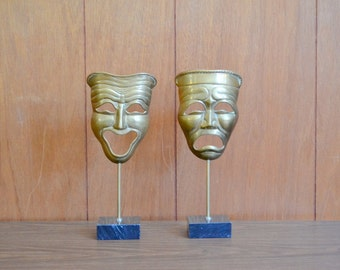 vintage brass and marble comedy and tragedy mask sculptures