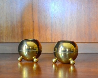vintage midcentury modern brass pilcher candle stick holders