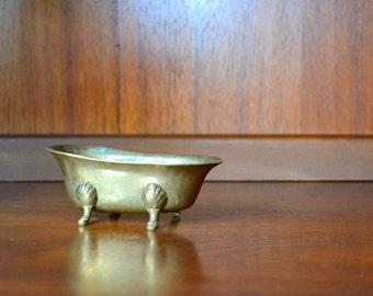 vintage midcentury miniature brass bathtub catch all