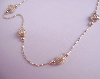 Italian Sterling Silver Sphere and Chain Necklace
