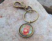 Keychain with Swivel clip, Bohemian key chain, Hippie key ring, hamsa hand, yoga mat bag clip