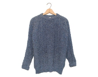 Vintage Quill Knit Confetti Blue Pure New Wool Fisherman Sweater Made in Republic of Ireland - XL