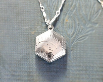 Sterling Silver Locket Necklace, Tiny Double Side Engraved Hexagonal Pendant - Honeycomb