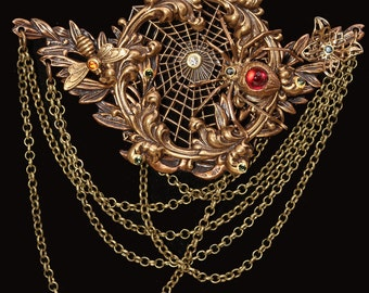 Spider Web Necklace Gothic Necklace Spider Necklace HALLOWEEN