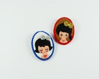 38% SALE Festive Girl Felt Brooch / Miniature Portrait Felt Brooch / Miniature Felt Girl Pin / Cute Girl Wearing a Crochet Bow