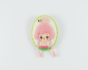 17% SALE Anime Girl Felt Brooch / Pink Haired Girl Felt Brooch / Fantasy Girl Felt Brooch / Hedgehog Girl Brooch / Pastel Pin / Modern Pin