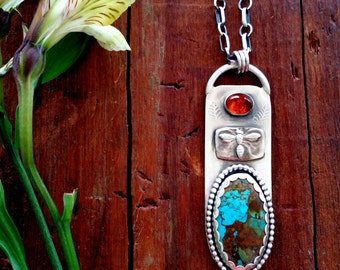 Unique Sterling Silver Handcrafted , Pendant  Necklace , Metalsmith, Nature, Boho, Rustic, Arizona Copper Turquoise, Amber