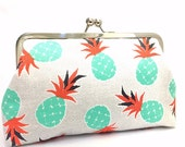 clutch purse - it's pine time  - 8 inch metal frame clutch purse / large purse/ pineapple/tropical/kisslock