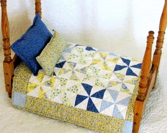 Doll Quilt-Doll Blanket-Pinwheels Doll Quilt-Miniature Quilt-Doll Bedspread-Sasha Doll-Magic Attic-Madame Alexander-Kidz n Cats-Yellow Blue