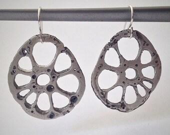 Silver Lotus Flower Root earrings - Sliced Lotus Root Jewelry - sterling silver