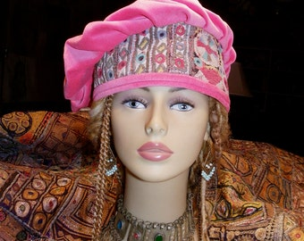 Hat Beret Pink Cotton Velvet Vintage Indian Embroidery and Mirror Work Asymmetrical Beret