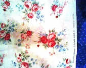 3 yds Lecien Flower Sugar OOP fabric red floral on white with ladybugs