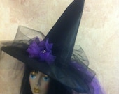 Costume Witch Hat in black and purple - Halloween Witch Hat - Witch Hat