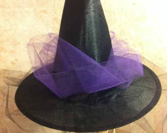 Childs Witch Hat with Purple Tulle
