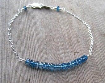 Clearance Sale! London Blue Topaz Dainty Stacking Bracelet, Sterling Silver, December Birthstone, Blue Topaz Jewelry