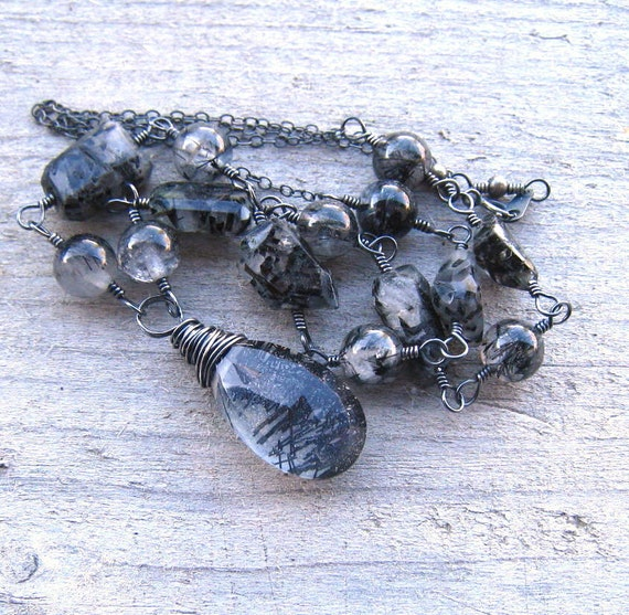 Black Rutilated Quartz Necklace, Smokey Gray Gemstone,  Handmade in Sterling Silver ,Wire Wrapped Black Stone Pendant, Beaded Long Necklace