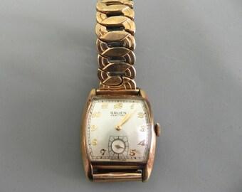 Vintage Men's Watch 10k gf Gold 40s Gruen Veri Thin Swiss Wristwatch Art Deco Band Works Great
