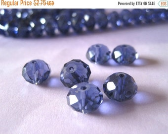 30% OFF SALE Amethyst Purple Faceted Rondelle Glass Beads 10mm, 20 pieces