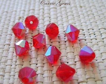 "20% OFF ON SALE 8"" long (22 pc)  Red Chinese Crystal Ab Bicone 6mm Beads."