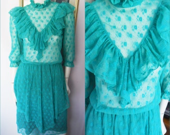 Vintage 70/80s Teal Green Lace Ruffle Victorian Style Midi Dress.S/M.Bust 36-38.Waist 22-34.