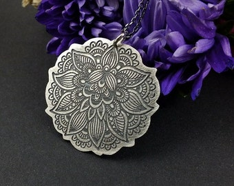Etched silver necklace, sterling silver jewelry, henna pattern pendant