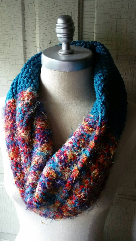 ON SALE Knit Cowl, Infinity Scarf, Red and Teal, Super Soft, Colorful, Multicolor, Bright