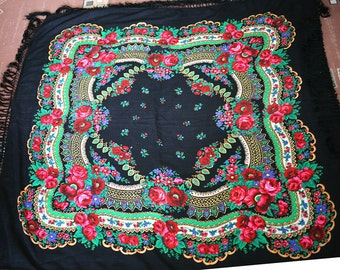 """Russian Scarf Vintage Shawl Pink Roses on Black cotton 54"""" inches From Russia Soviet Union USSR"""